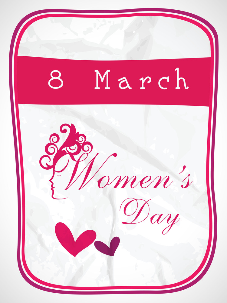 Happy Womens Day Greeting Card Or Poster Design With Illustration Of A Girl.