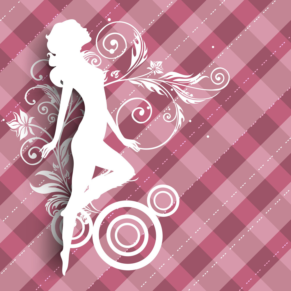 Happy Womens Day Greeting Card Or Poster Design With Illustration Of A Girl On Abstract Pink Background.