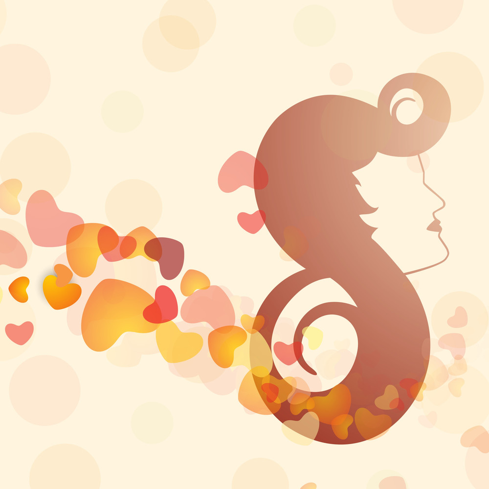Happy Womens Day Greeting Card Or Poster Design With Illustration Of A Girl On Brown Background.
