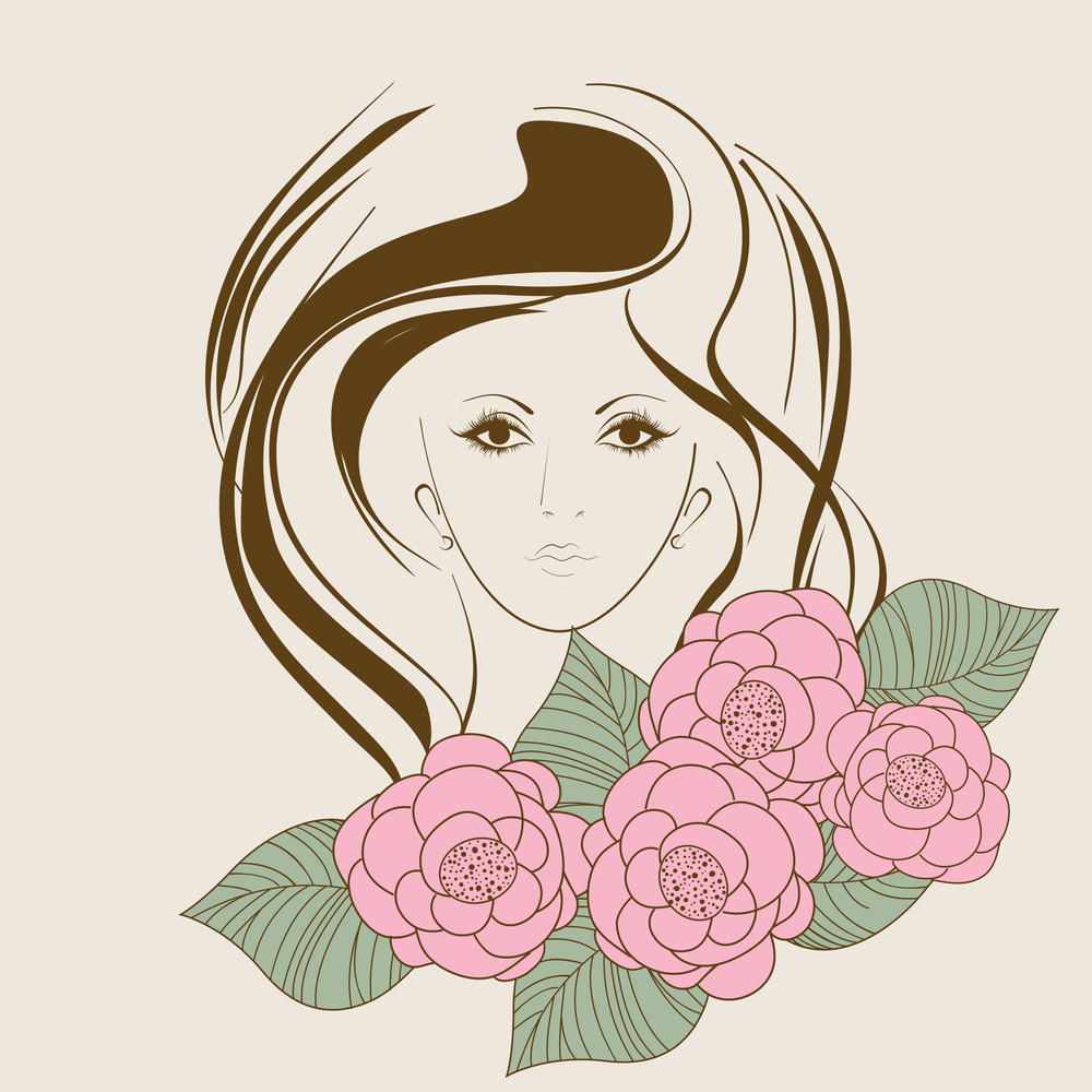 Happy Womens Day Greeting Card Or Poster Design With Illustration Of A Girl On Floral Decorated Abstract Background.