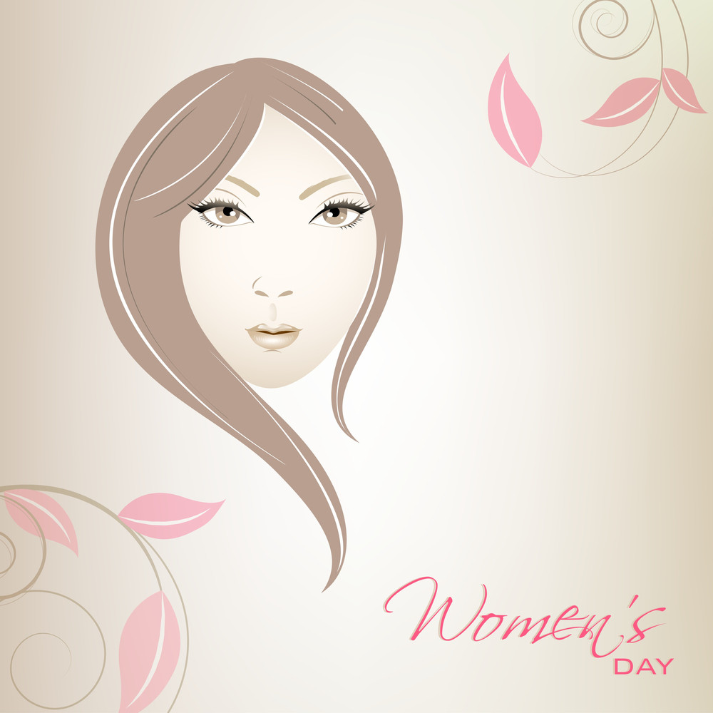 Happy Womens Day Greeting Card Or Poster Design With Illustration Of A Girl Face On Floral Decorated Background.
