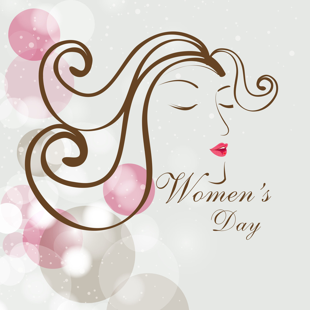 Happy Womens Day Greeting Card Or Poster Design With Illustration Of A Girl On Shiny Floral Decorated Grey Background.