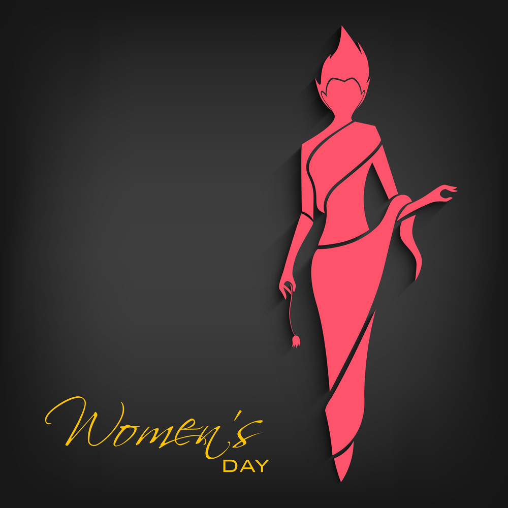 Happy Womens Day Greeting Card Or Poster Design With Illustration Of A Girl On Grey Background.