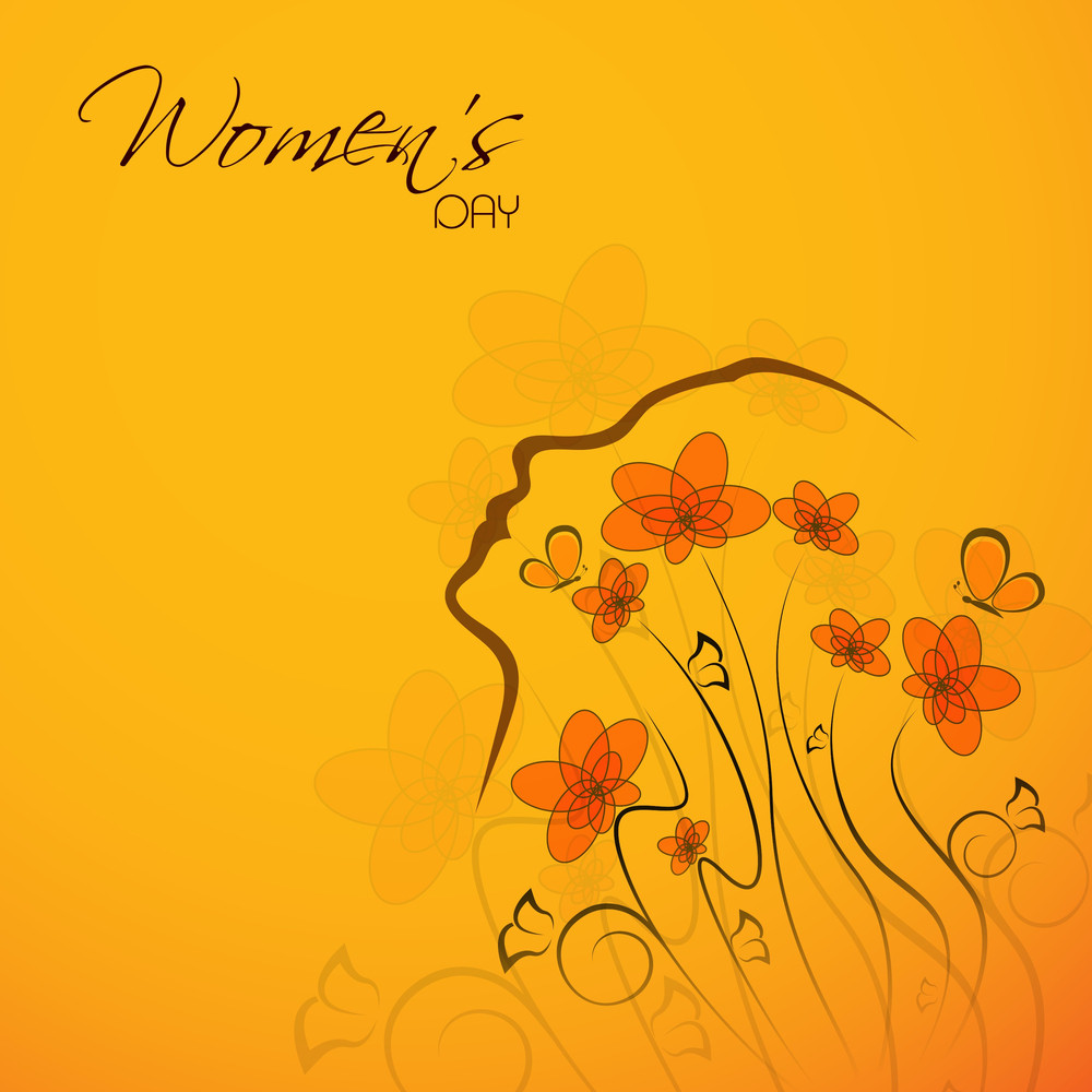 Happy Womens Day Greeting Card Or Poster Design With Illustration Of A Woman On Floral Decorated Yellow Background