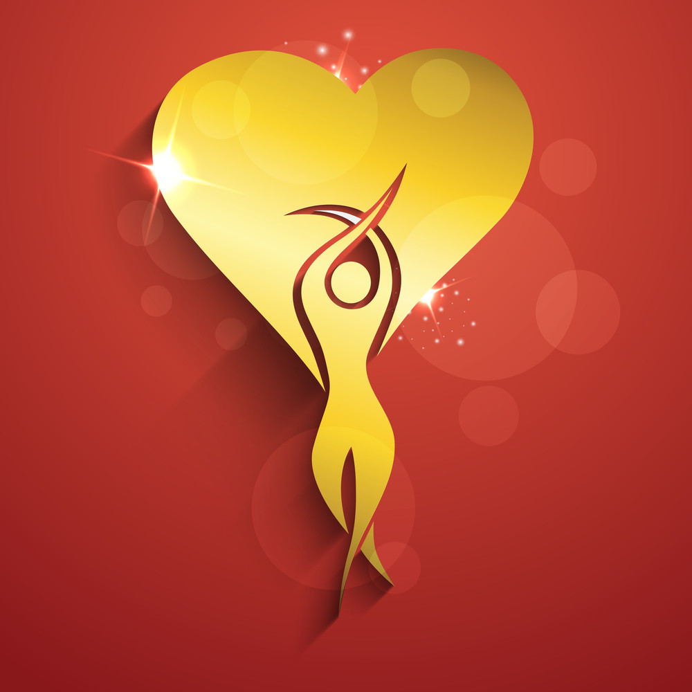Happy Womens Day Greeting Card Or Poster Design With Illustration Of A Woman In Golden Color With Heart Shape On Red Background.