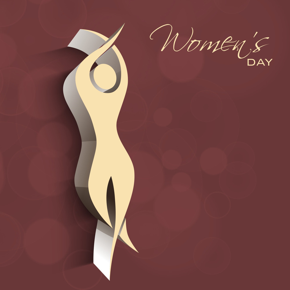 Happy Womens Day Greeting Card Or Poster Design With Illustration Of A Woman In Dancing Pose On Brown Background.