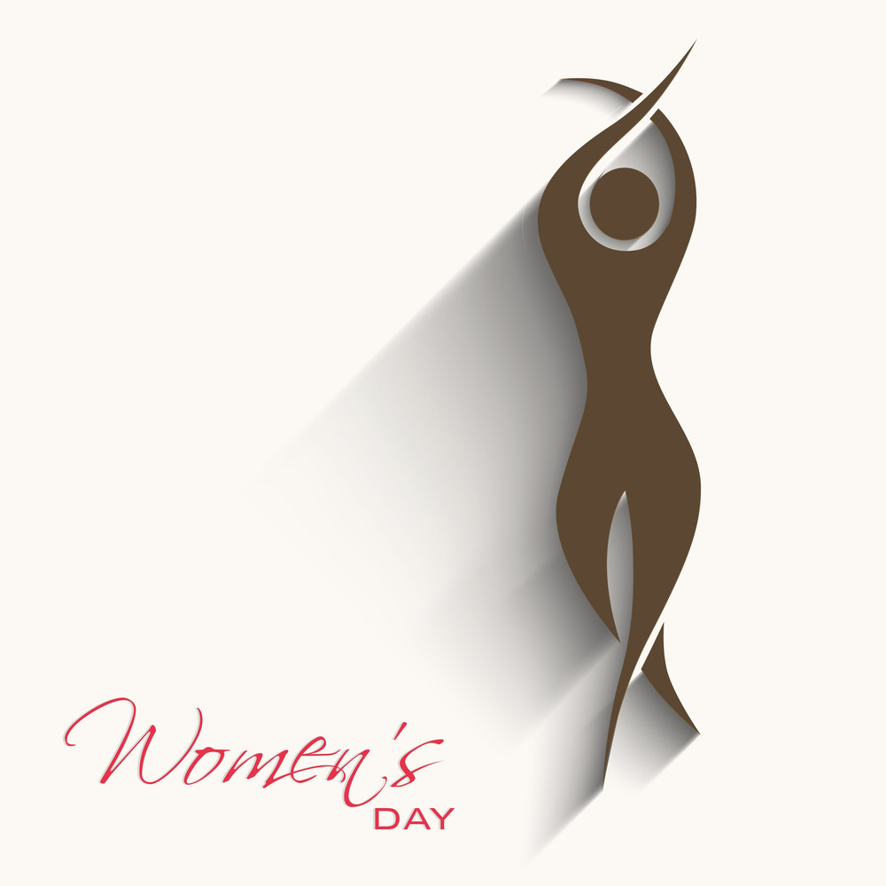 Happy Womens Day Greeting Card Or Poster Design With Illustration Of A Young Girl On Grey Background.