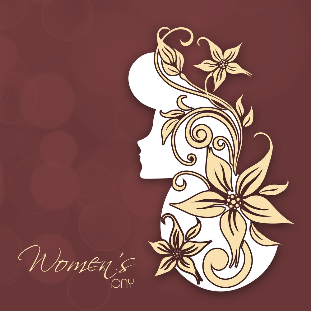 Happy Womens Day Greeting Card Or Poster Design With Illustration Of Beautifu Girl On Floral Decorated Brown Background.