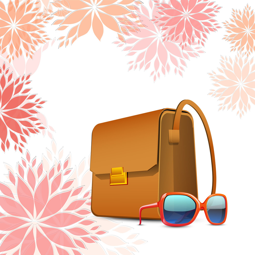 Happy Womens Day Greeting Card Or Poster Design With Ladies Bag And Eyeglasses.