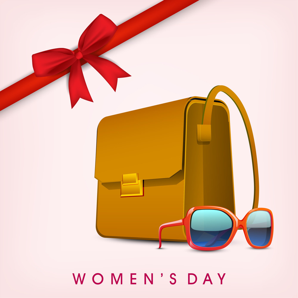 Happy Womens Day Greeting Card Or Poster Design With Ladies Bag And Eyewear