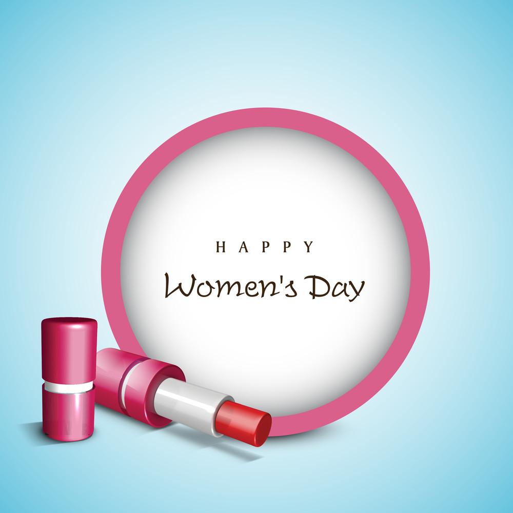 Happy Womens Day Greeting Card Or Poster Design With Lipstic And Space For Your Text On Blue Background.