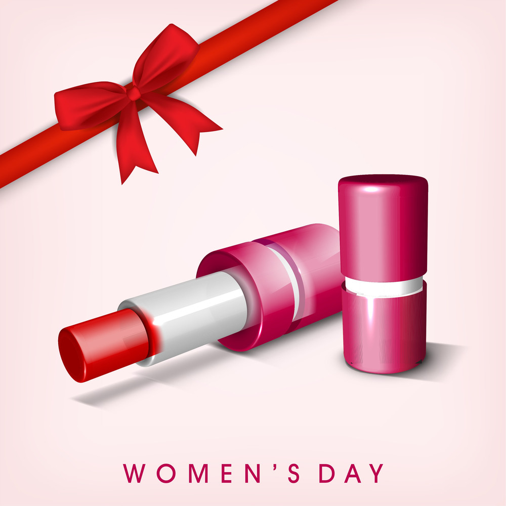 Happy Womens Day Greeting Card Or Poster Design With Lipstick And Red Ribbon On Pink Background.
