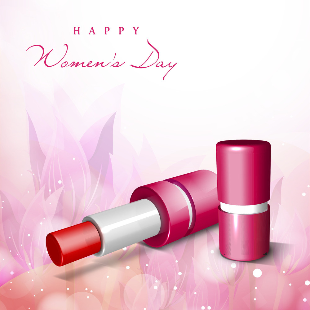 Happy Womens Day Greeting Card Or Poster Design With Lipstick On Floral Decorated Pink Background.