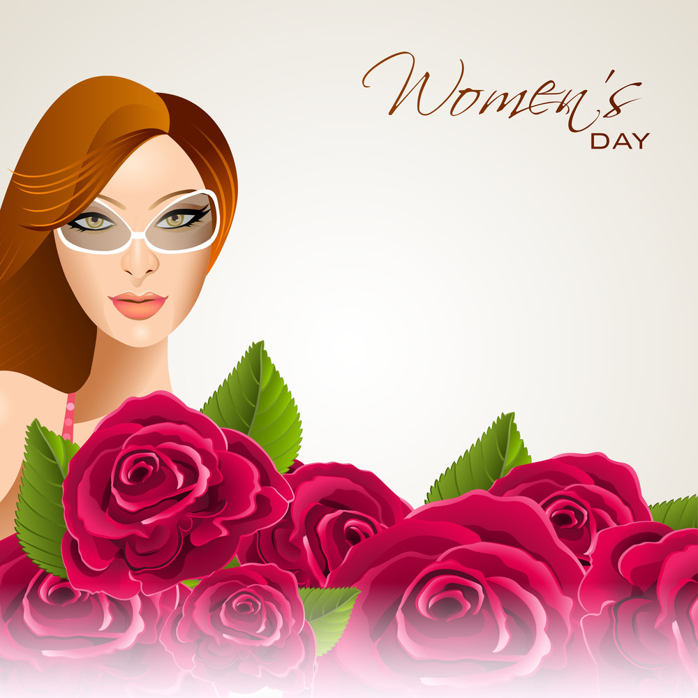Happy Womens Day Greeting Card Or Poster Design With Mordern Stylish Girl In Glasses On Roses Decorated Background.