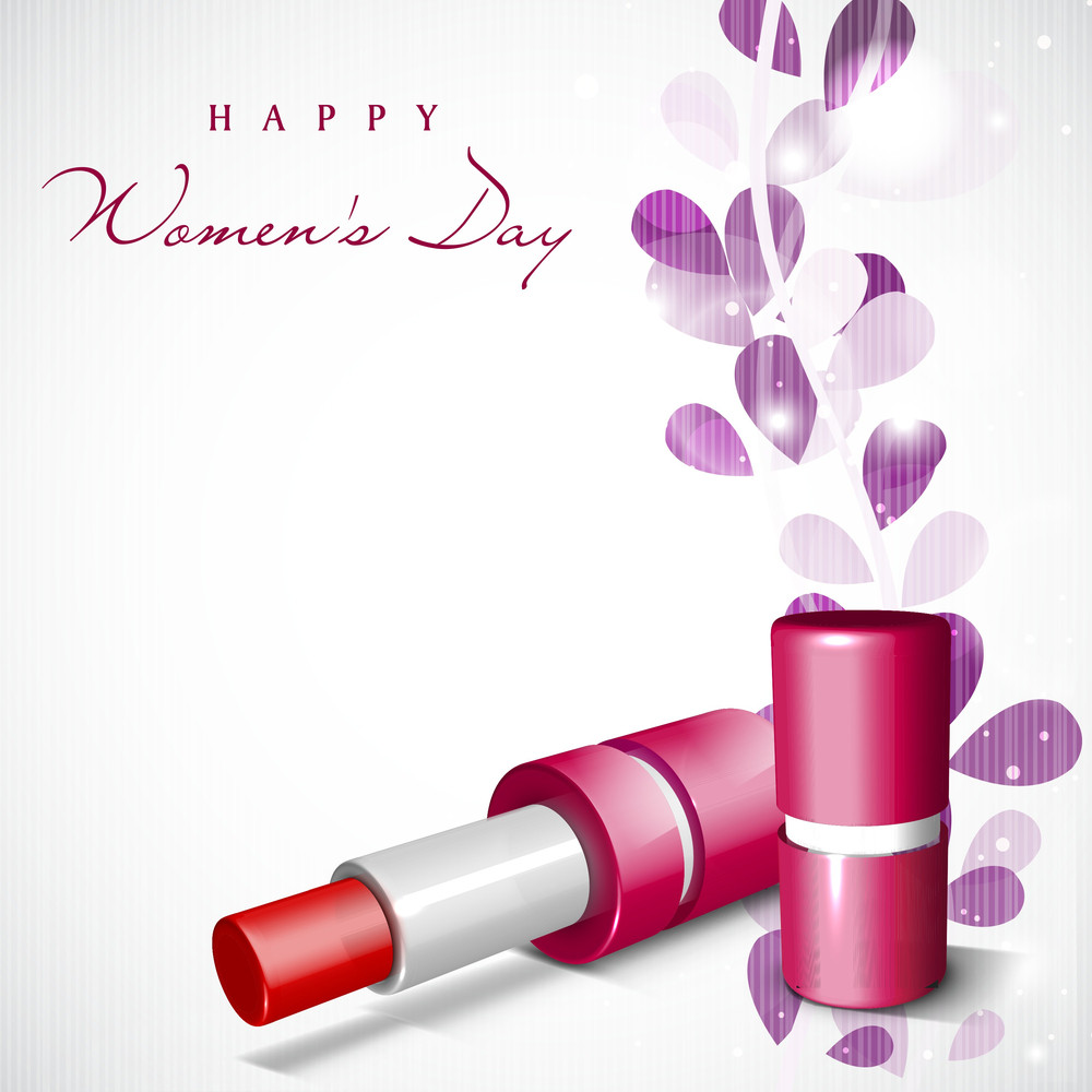 Happy Womens Day Greeting Card Or Poster Design With Pi Lipstick On Floral Decorated Background.