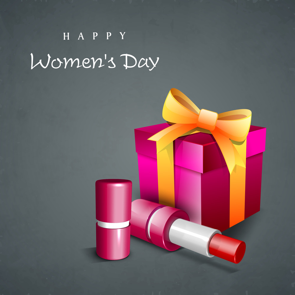 Happy Womens Day Greeting Card Or Poster Design With Pink Gift Box And Lipstick On Grey Background.