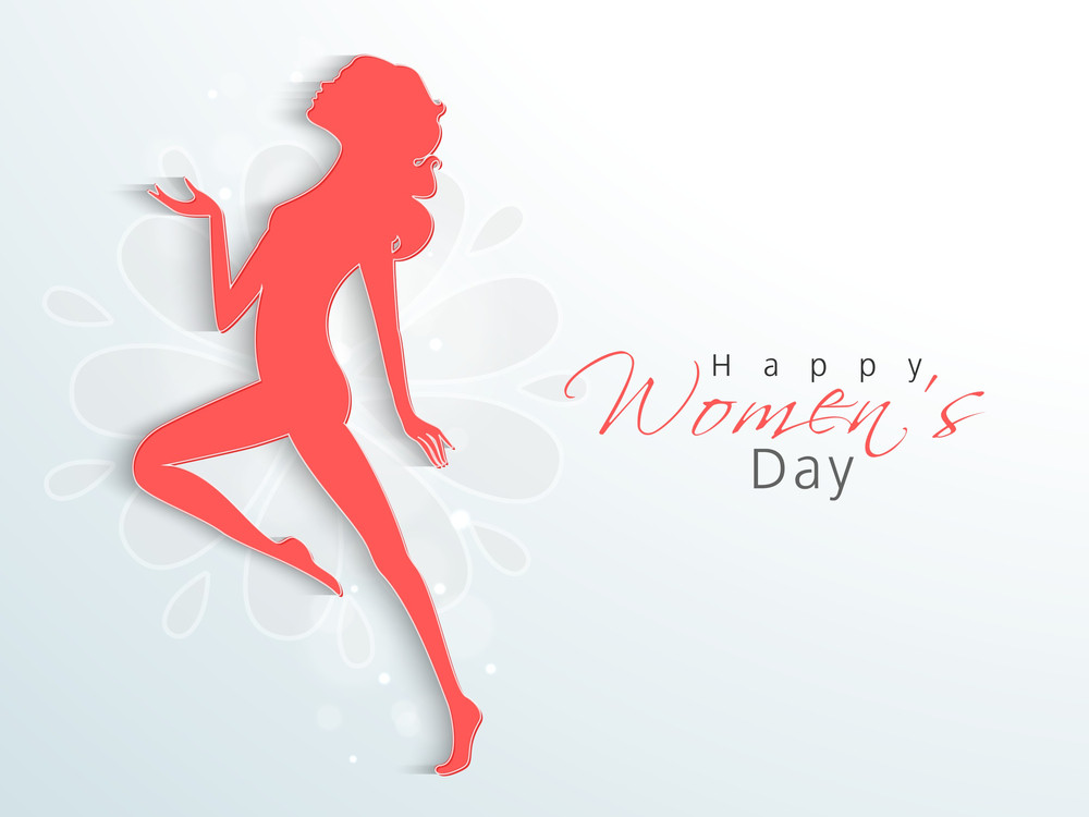 Happy womens day greeting card or poster design with pink silhouette happy womens day greeting card or poster design with pink silhouette of a young girl in dancing pose on nature background m4hsunfo
