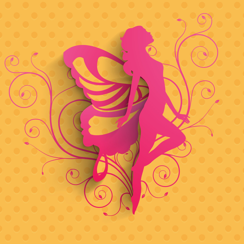 Happy Womens Day Greeting Card Or Poster Design With Pink Silhoustte Of A Girl In Dancing Pose On Yellow Background.