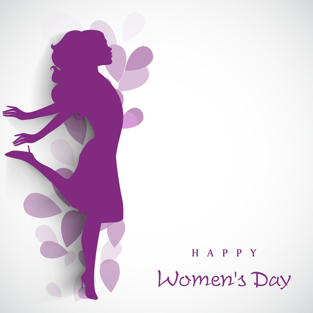 Happy Womens Day Greeting Card Or Poster Design With Purple Silhouette Of Girl In Dancing Pose On Floral Decorated Grey Background.