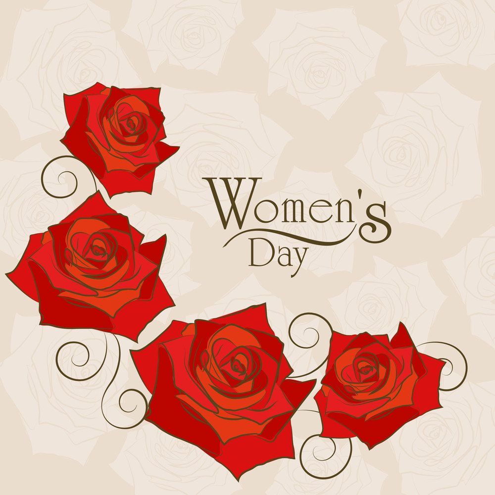 Happy Womens Day Greeting Card Or Poster Design With Red Roses On Abstract Brown Background.