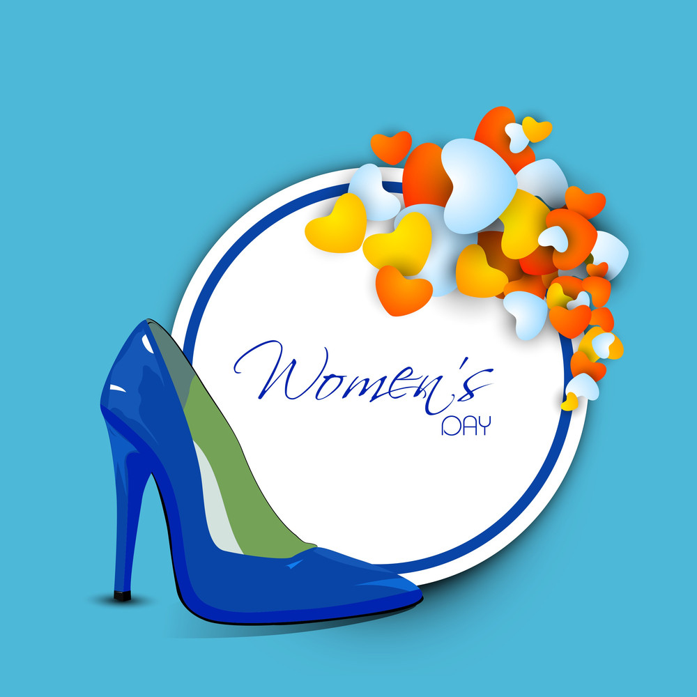 Happy Womens Day Greeting Card Or Poster Design With Shiny Blue Ladies Shoe With Sticker And Heart Shapes For Your Message.