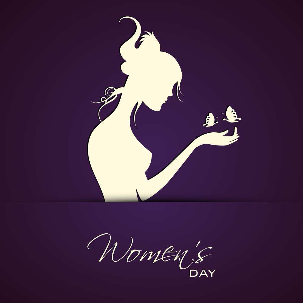 Happy Womens Day Greeting Card Or Poster Design With Silhouette Of A Beautiful Girl Trying To Catch Butterflies On Purple Background.