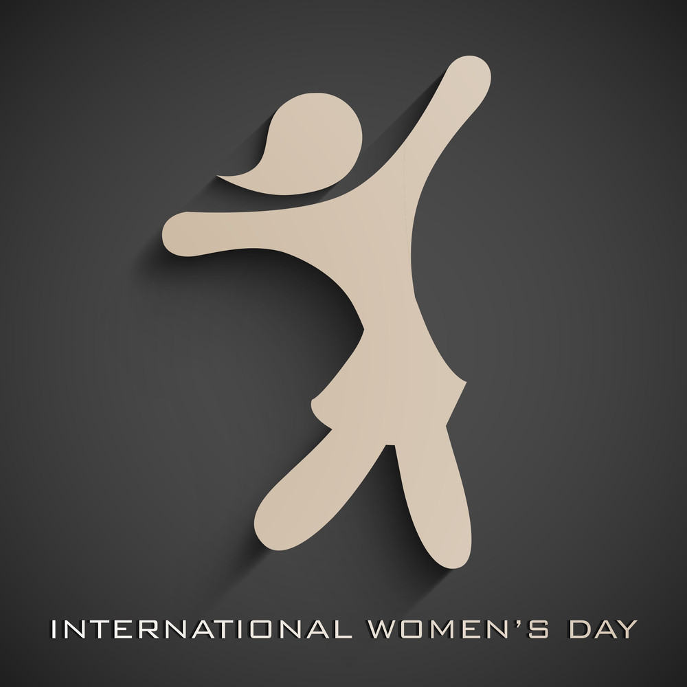 Happy Womens Day Greeting Card Or Poster Design With Silhouette Of A Dancing Girl On Grey Background