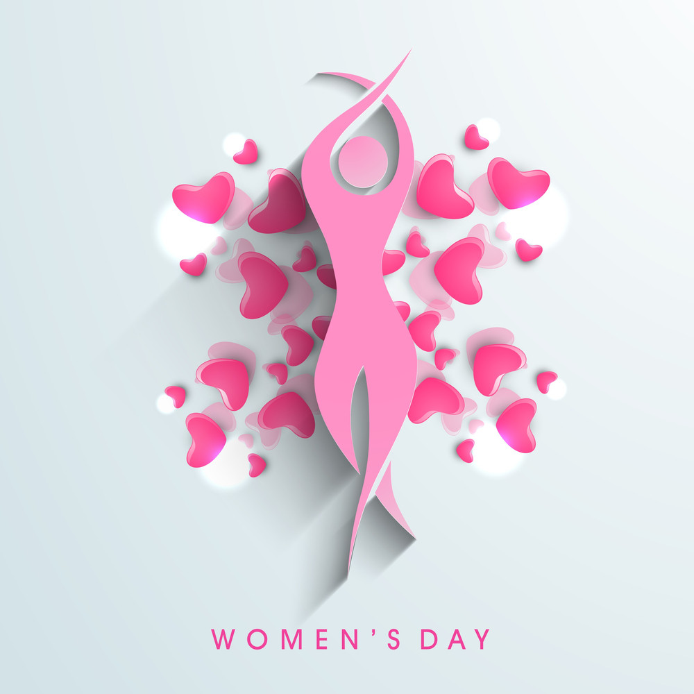 Happy Womens Day Greeting Card Or Poster Design With Silhouette Of A Girl In Dancing Pose On Blue Background.