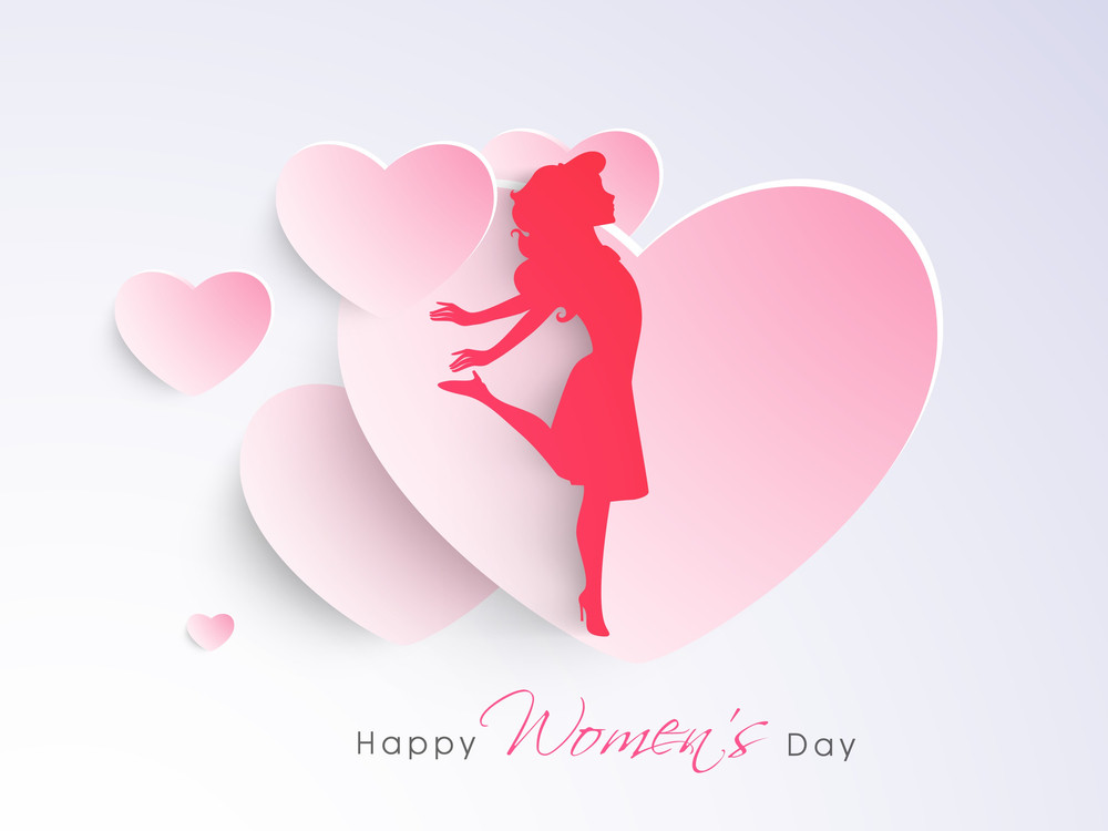 Happy Womens Day Greeting Card Or Poster Design With Silhouette Of A Girl On Shiny Pink Background.