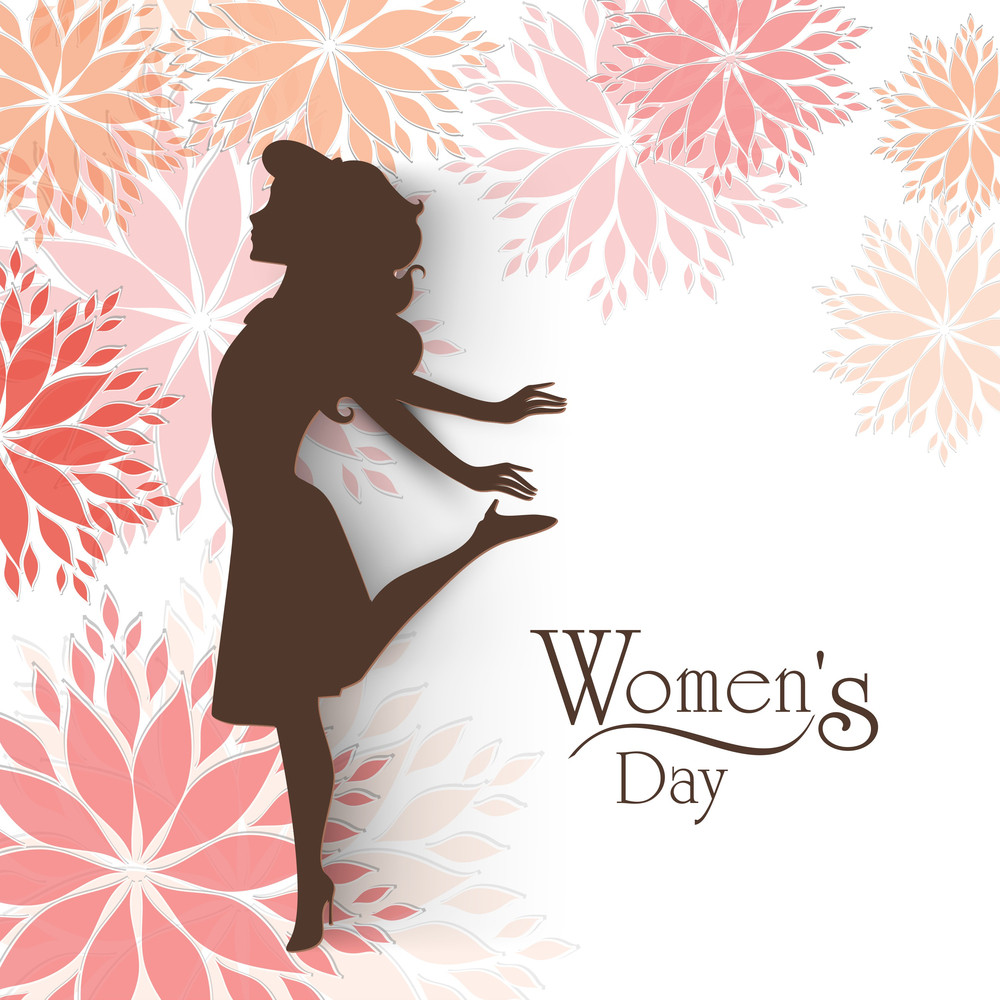 Happy Womens Day Greeting Card Or Poster Design With Silhouette Of A Girl On Floral Decorated Background.