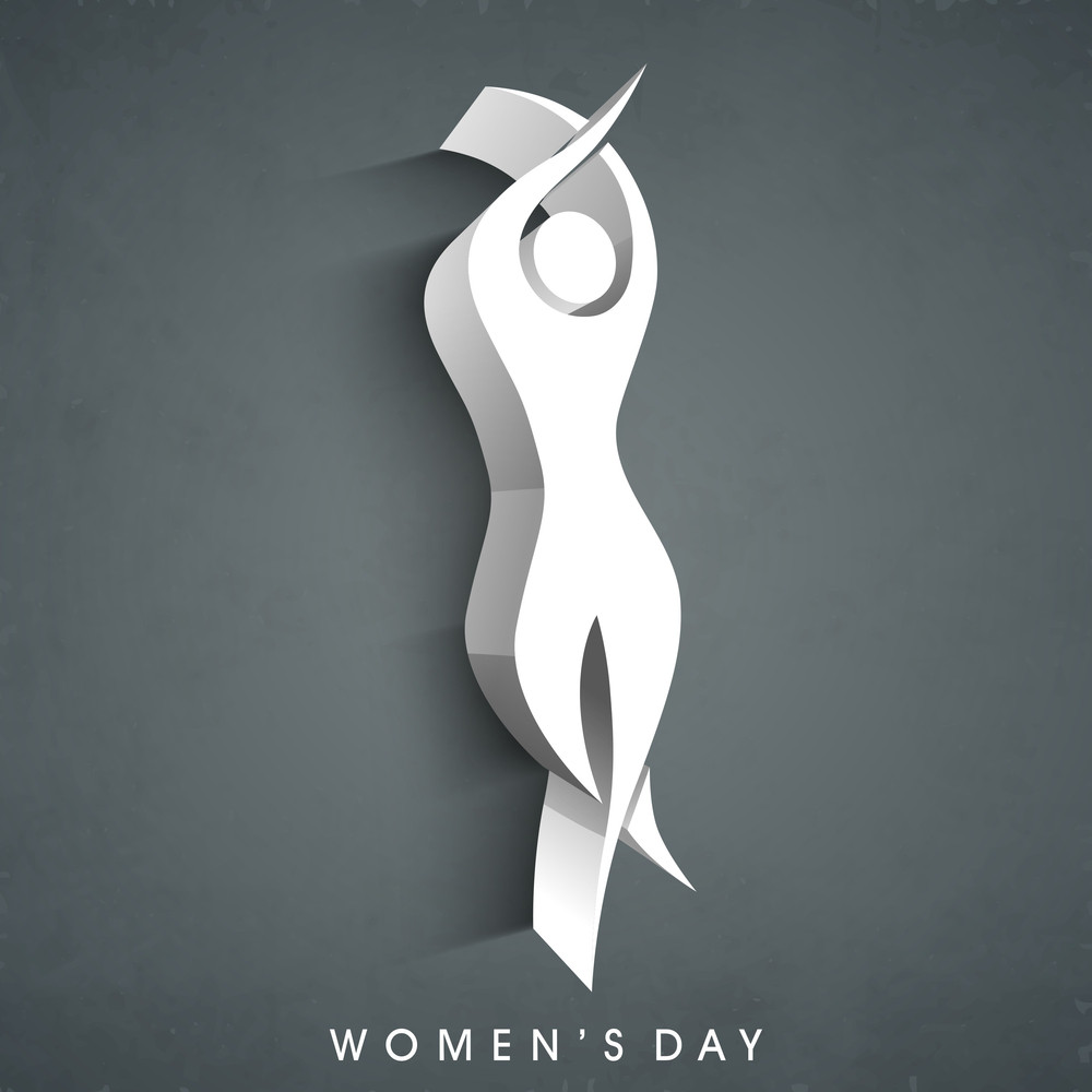 Happy Womens Day Greeting Card Or Poster Design With Silhouette Of A Woman In Dancing Pose On Grey Background.