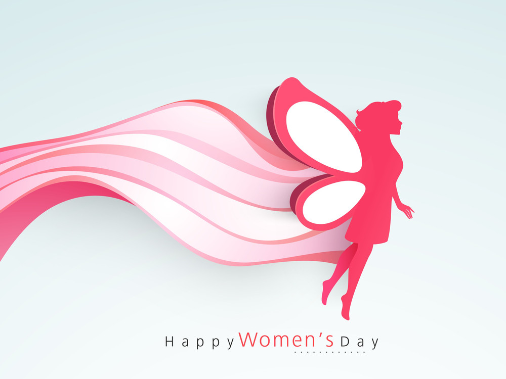 Happy Womens Day Greeting Card Or Poster Design With Silhouette Of A Young Girl With Wings
