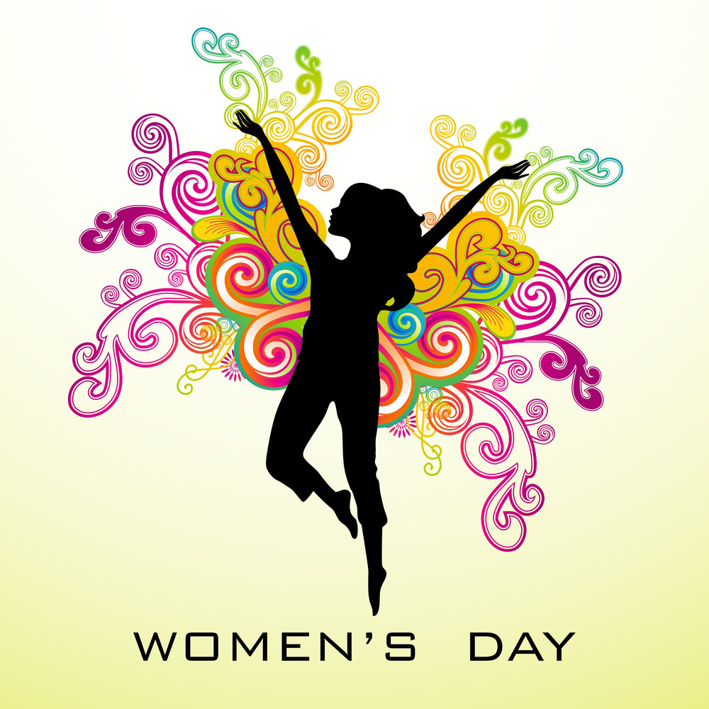 Happy Womens Day Greeting Card Or Poster Design With Silhouette Of