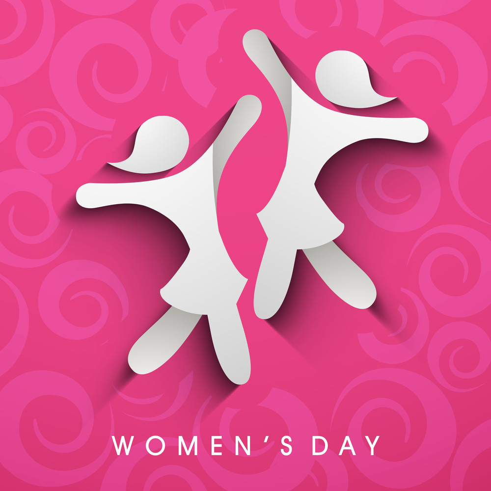 Happy Womens Day Greeting Card Or Poster Design With Silhouette Of Happy Girls On Pink Background.