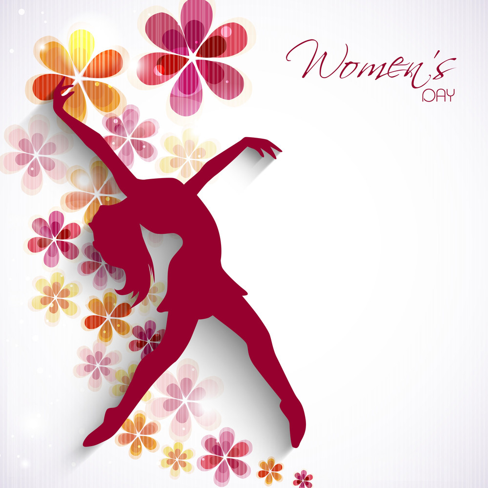 Happy Womens Day Greeting Card Or Poster Design With Silhouette Of Young Girl In Dancing Pose On Floral Decorated Background.