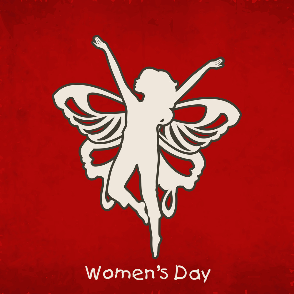 Happy Womens Day Greeting Card Or Poster Design With Silhouette Of Young Girl In Dancing Pose With Wings On Grungy Red Background.