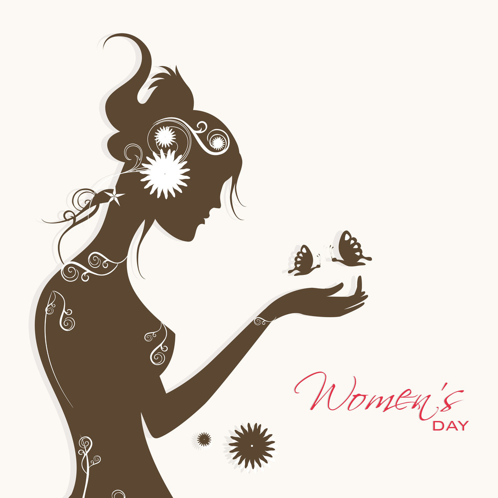Happy Womens Day Greeting Card Or Poster Design With Silhouette Of Young Girl Trying To Catch Butterflies On Grey Background.