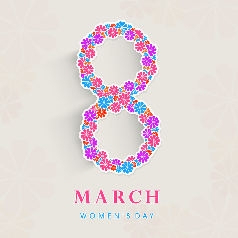 Happy Womens Day Greeting Card Or Poster Design With Sty,lish Text  8 March Decorated By Colorful Flowers On Grey Background.