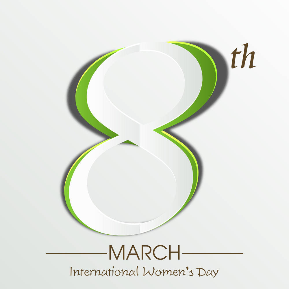 Happy Womens Day Greeting Card Or Poster Design With Stylish Text 8th March In Green Color On Grey Background.
