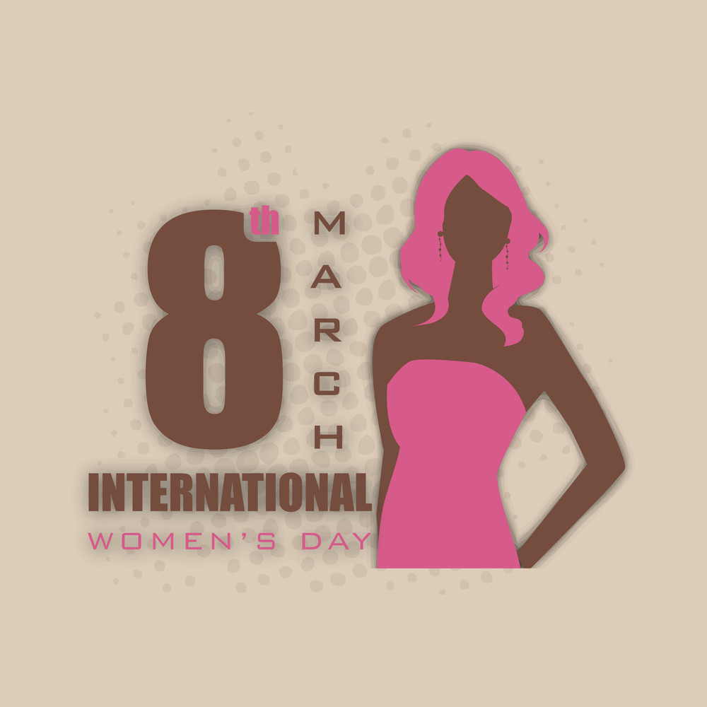 Happy Womens Day Greeting Card Or Poster Design With Stylish Text 8th March And Silhouette Of A Girl On Stylish Abstract Background.