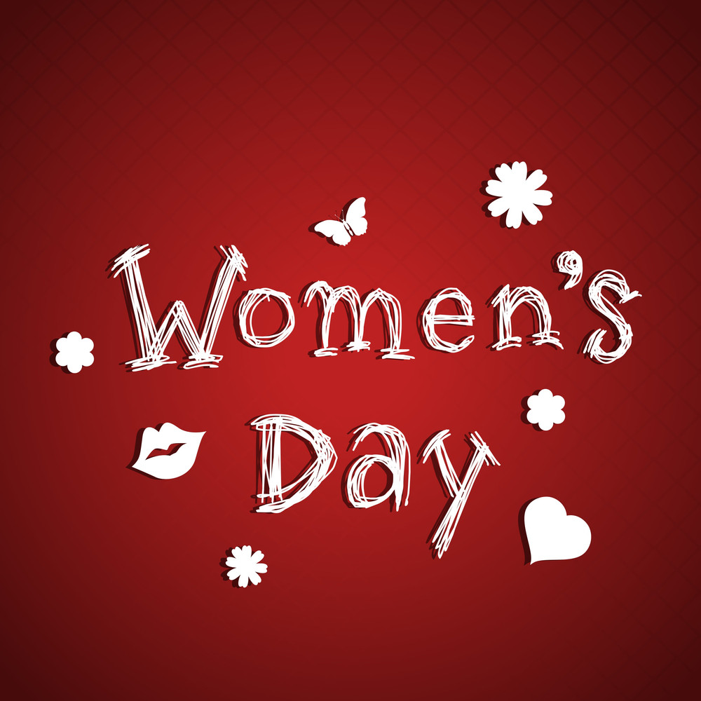 Happy Womens Day Greeting Card Or Poster Design With Stylish Text On Abstract Red Background.