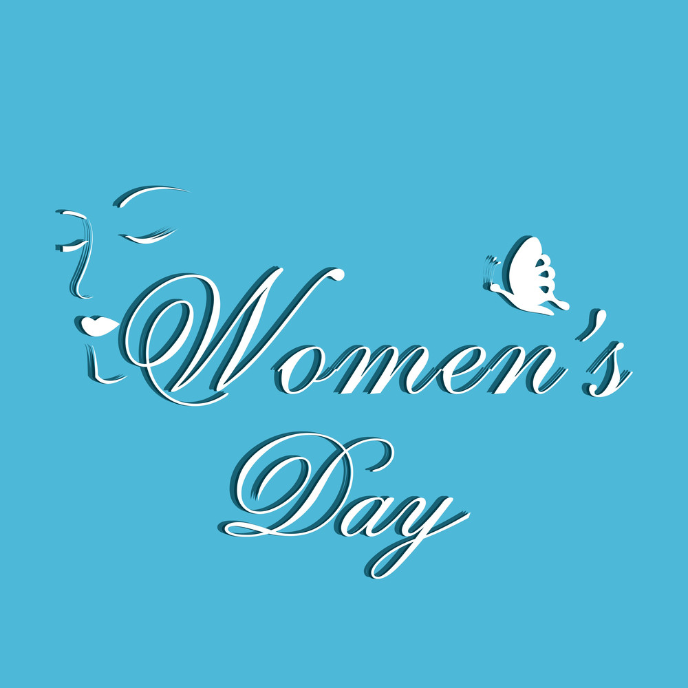 Happy Womens Day Greeting Card Or Poster Design With Stylish Text On Blue Background.