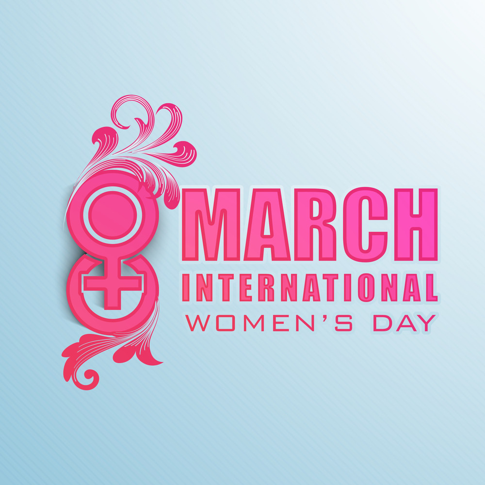 Happy Womens Day Greeting Card Or Poster Design With Stylish Text On Blue.