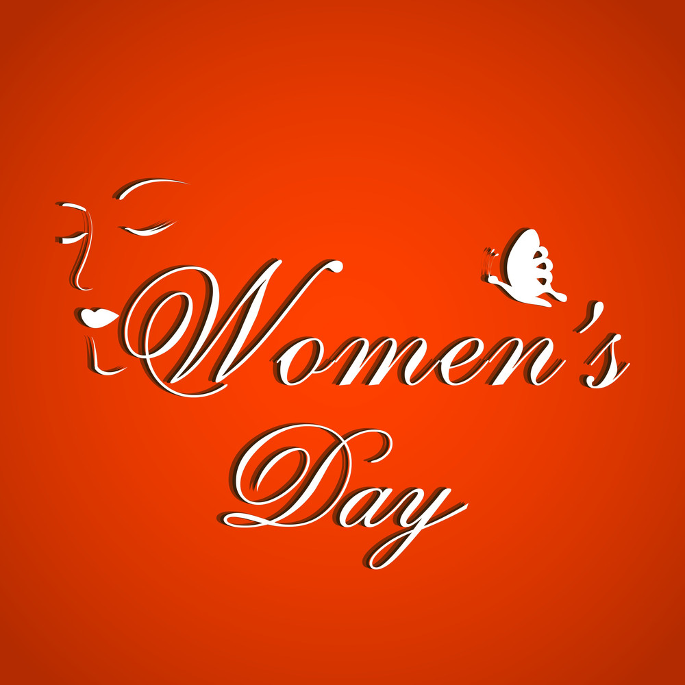 Happy Womens Day Greeting Card Or Poster Design With Stylish Text On Bright Red Background.