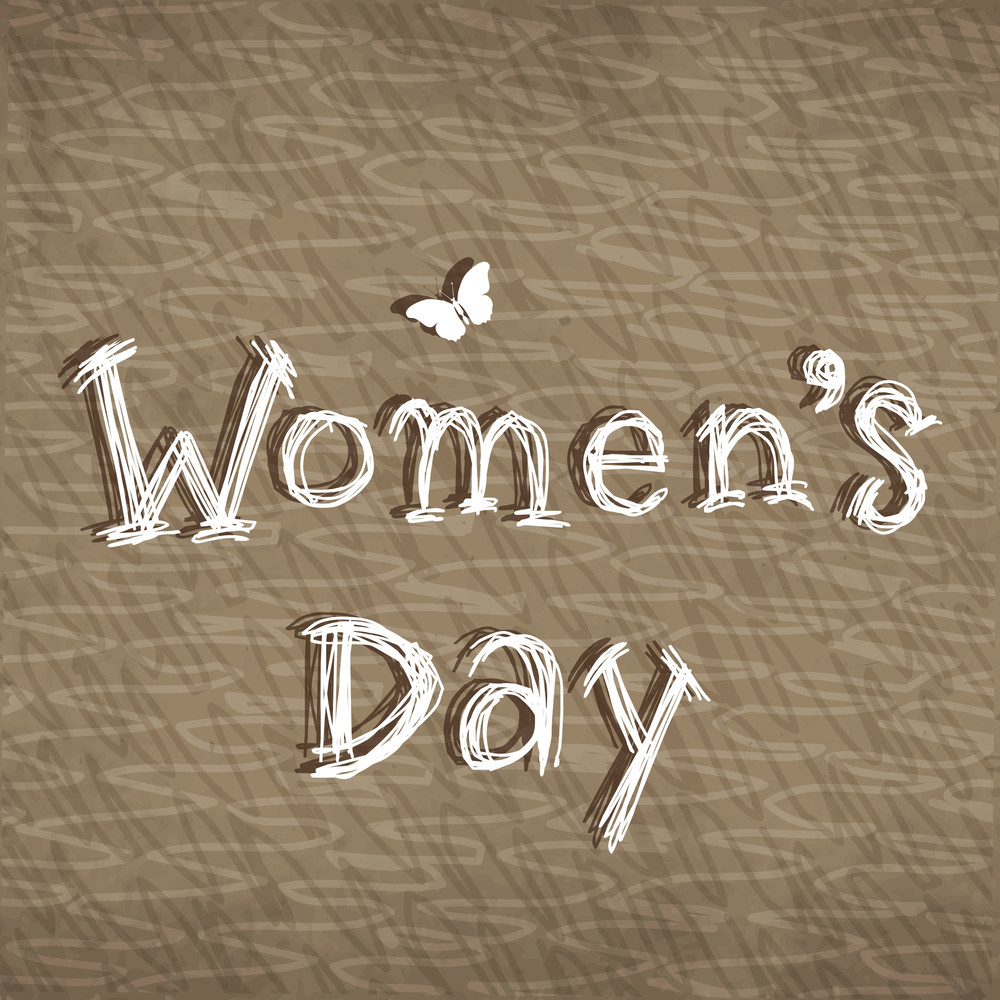 Happy Womens Day Greeting Card Or Poster Design With Stylish Text On Grungy Brown Background.