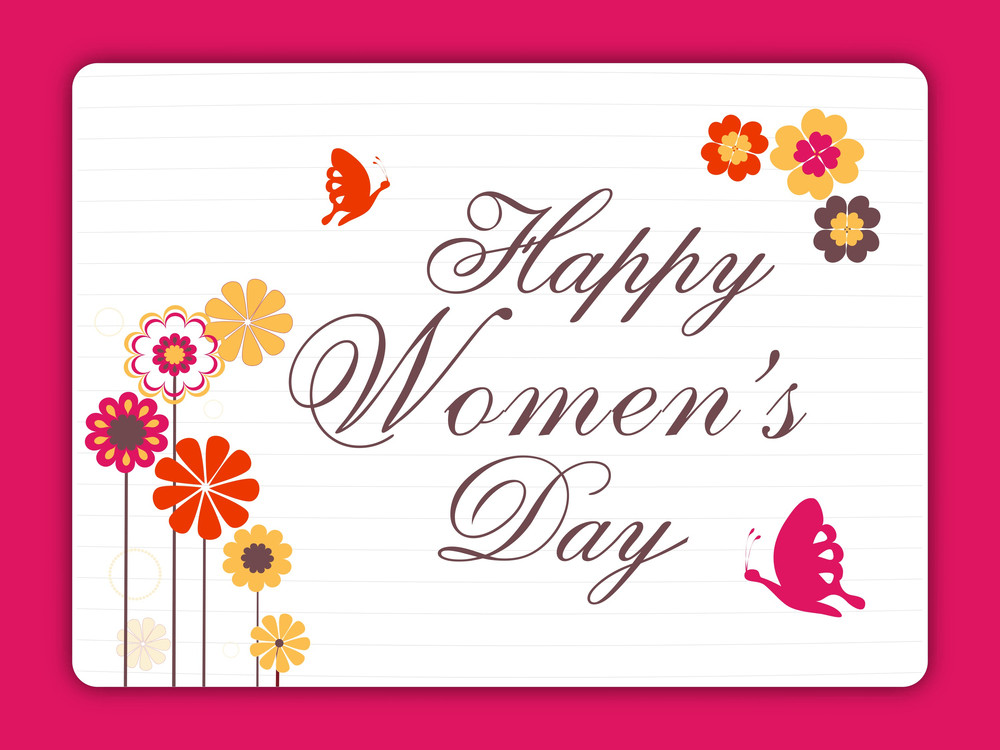 Happy Womens Day Greeting Card Or Poster Design With Stylish Text On Pink Background.