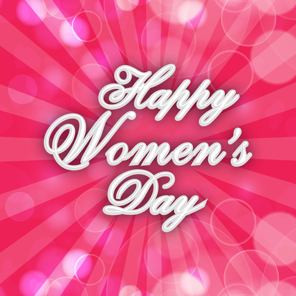 Happy Womens Day Greeting Card Or Poster Design With Stylish Text On Shiny Pink Rays Background.