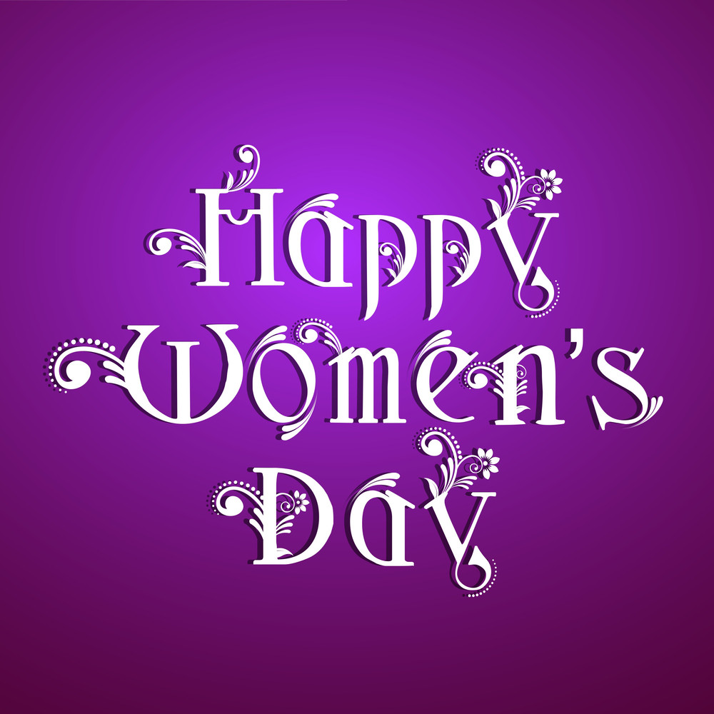 Happy Womens Day Greeting Card Or Poster Design With Stylish Text On Shiny Purple Background.