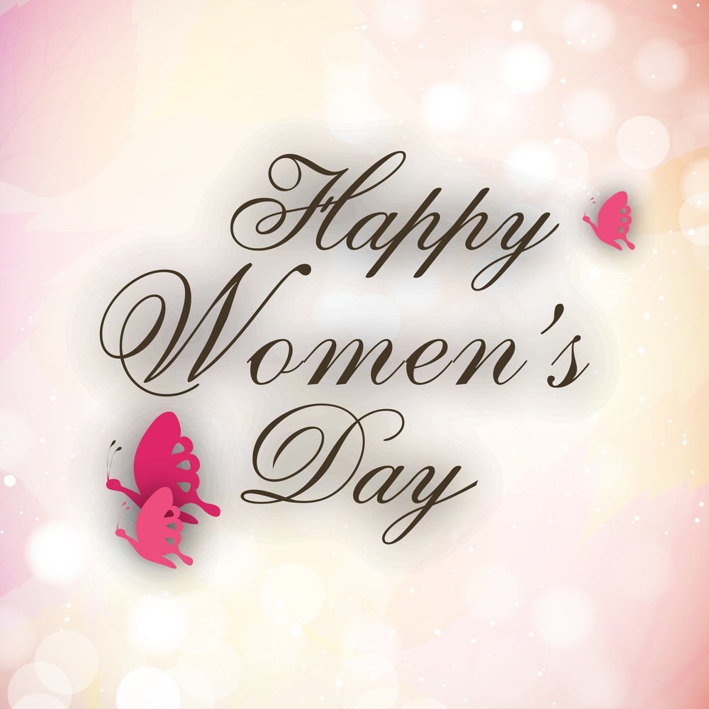 Happy Womens Day Greeting Card Or Poster Design With Stylish Text On Shiny Pink Background.