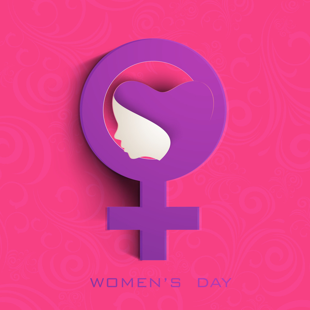 Happy Womens Day Greeting Card Or Poster Design With Sym Bol Of A Woman On Pink Background.